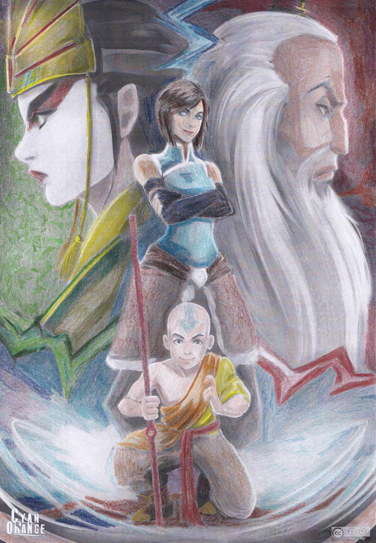 Aang Korra avatar - tla lok: kyoshi, roku, aang, korratea-iroh on
