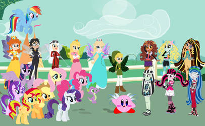 Peach and friends meets the Ghouls by user15432