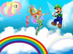 Luigi flies with Flora and Fluttershy by user15432