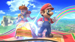 Mario and Daisy on a flying carpet
