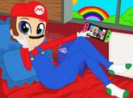 Mario plays a game
