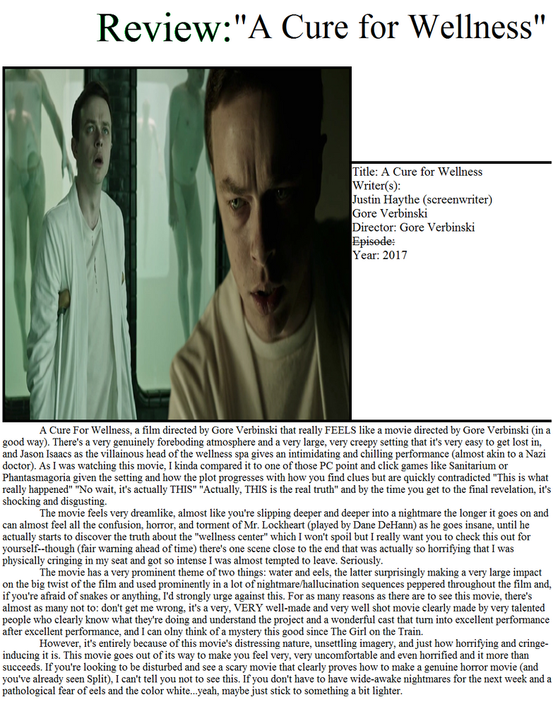 A Cure for Wellness Review by PerfectZanderSanchez