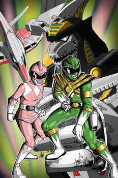 Pink and Green Power Rangers Print