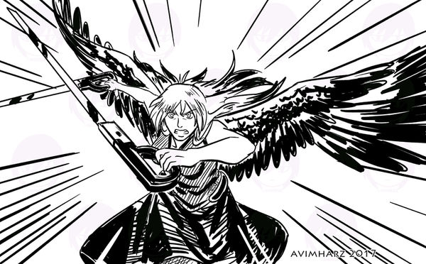 Quick Sketch: Angel fight sketch no. 4 by avimHarZ