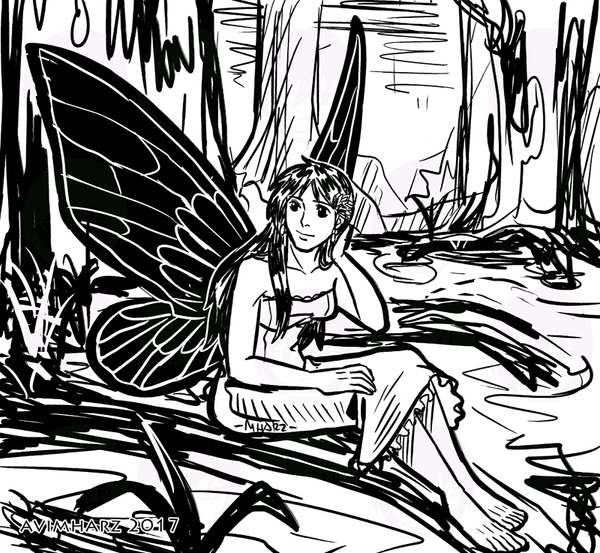 Quick Sketch: The Fairy with Black Wings by avimHarZ