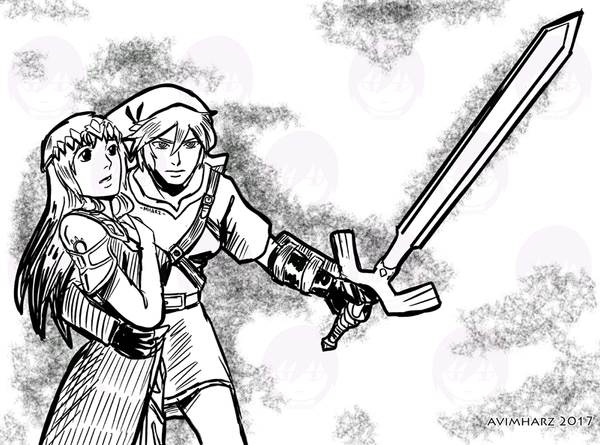 Quick Sketch: Black Zelda and Silver Link by avimHarZ