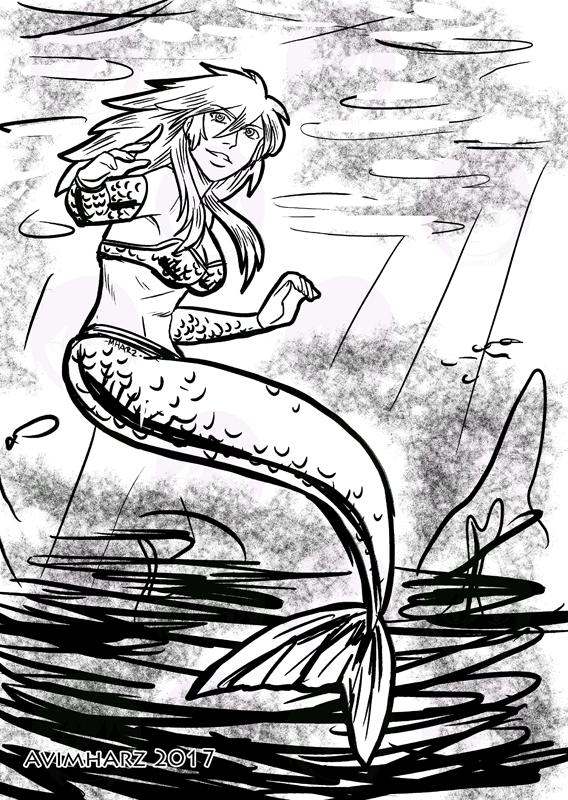 Quick Sketch: Silver Mermaid by avimHarZ