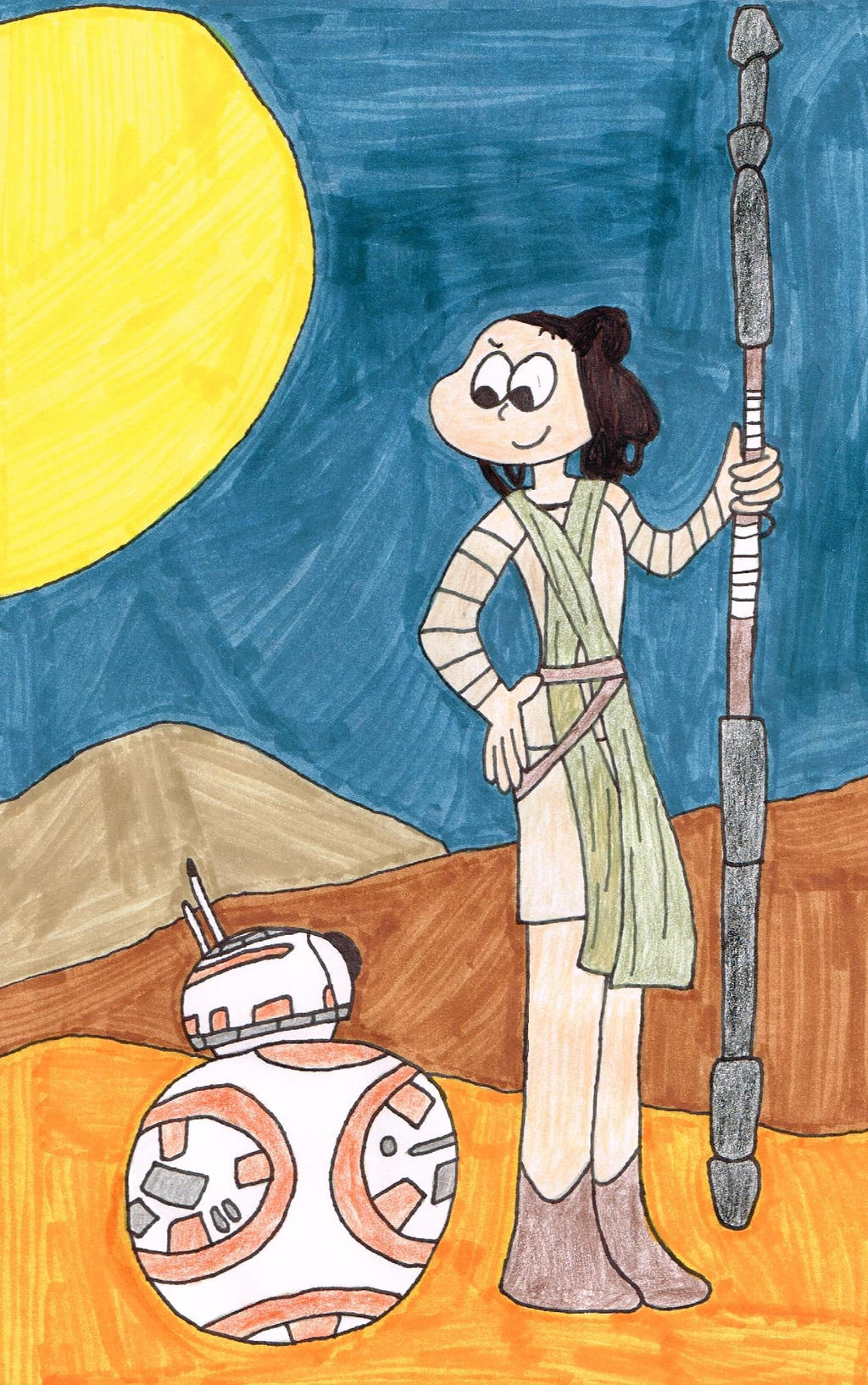 Rey and BB-8 (color) by thecrazyworldofjack