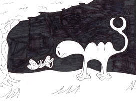 Huffingtober 8, Camelsaurus meets Hornfly by thecrazyworldofjack