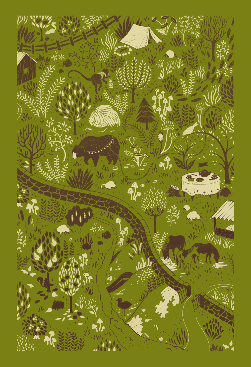 Monkey and Bear pattern by teaganwhite