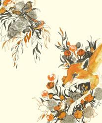 fox in foliage by teaganwhite