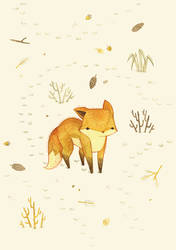 Lonely Winter Fox by teaganwhite