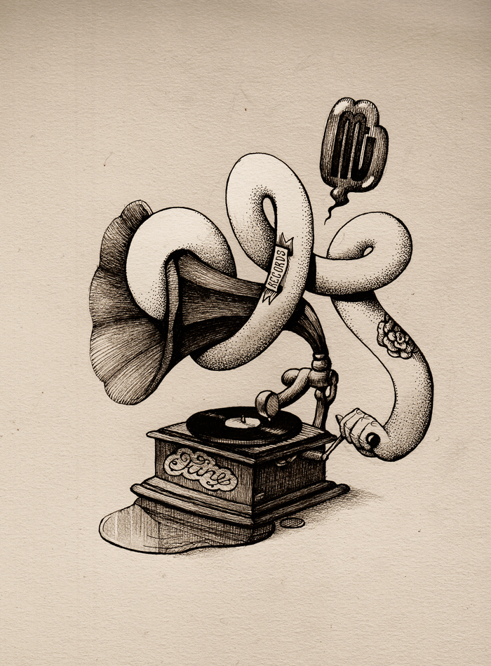 The infinite record ink drawing by room4shoes