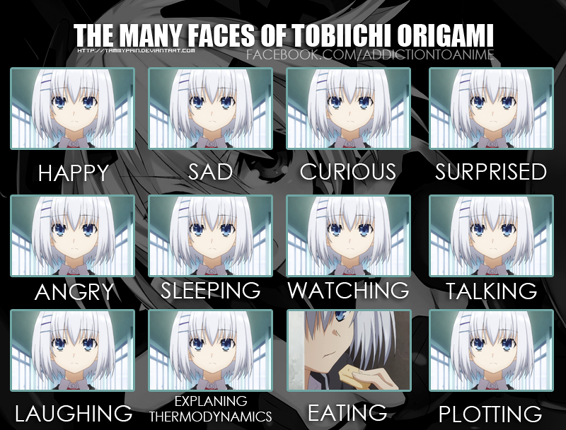 The Many Faces of Tobiichi Origami by tammypain on DeviantArt