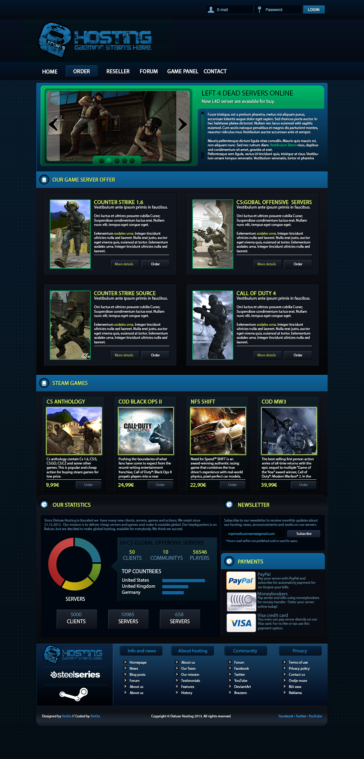 Esport Game Hosting template - FOR SALE