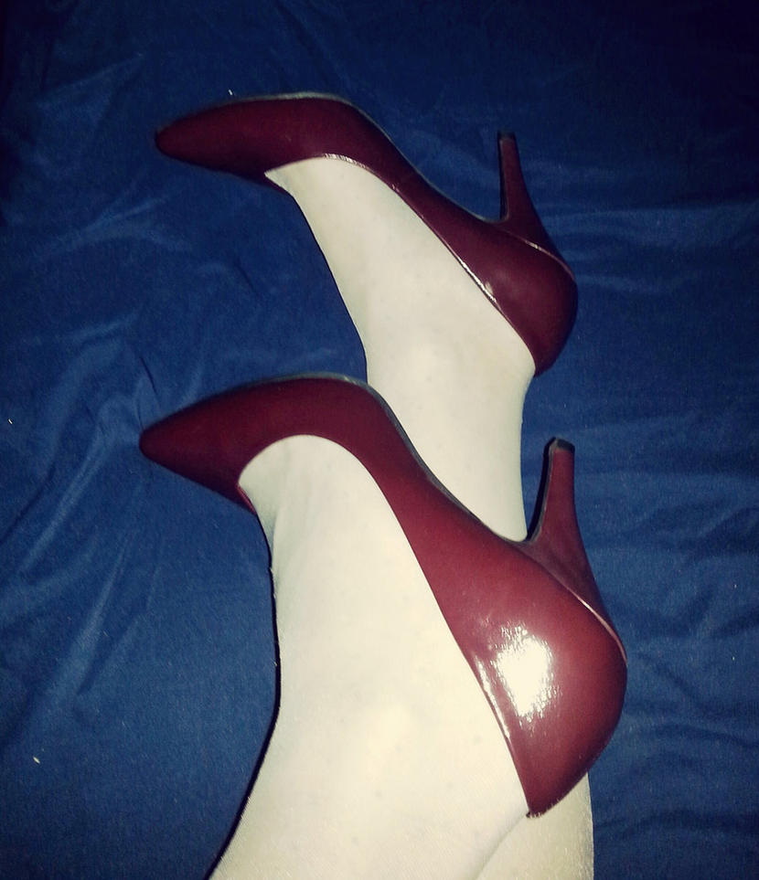 wine red pumps by Allyssa19