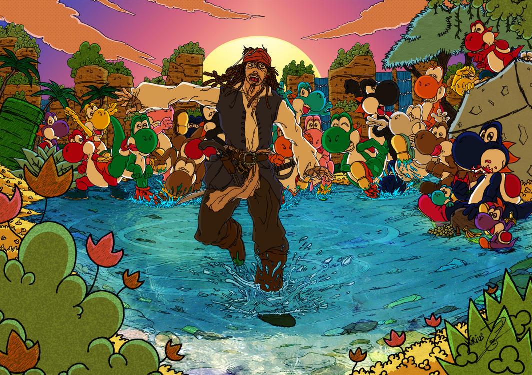 Jack Sparrow on Yoshi's Island by Yurius06