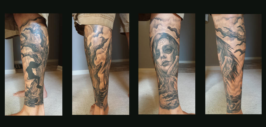 Day of the Dead leg Sleeve Tattoo
