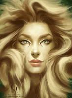 Albino Lion by GloriaPM