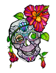Sugar Skull And Flower Day of the Dead Art