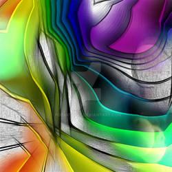 RAINBOW CONVERGENCE ABSTRACT ART