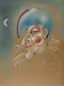 PUNCHINELLO CLOWN JESTER COLORED PENCIL DRAWING