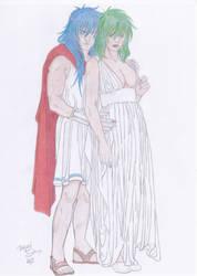 Commission - Saint Seiya - Milo and Shaina