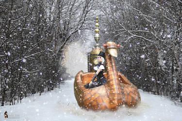 Steampunk Swan Sled Ride by Rowdy-Dawg
