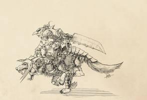 Goblin Warlord on Great Wolf by geokon712
