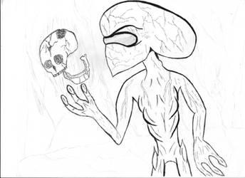 Inktober-Bone crushing alien by thee-a-10
