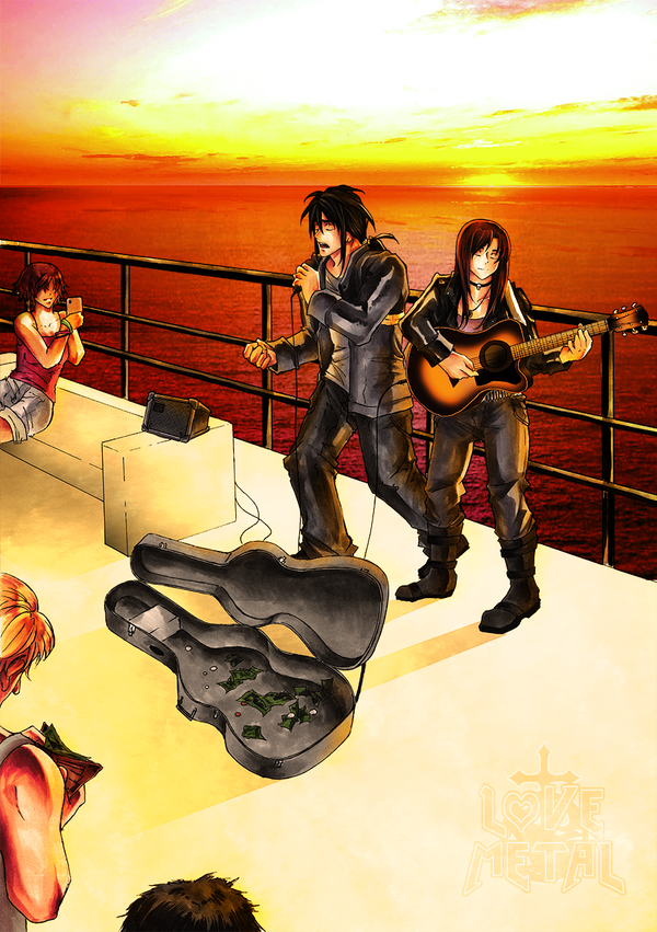 Sunset Buskers by HeartandVoice