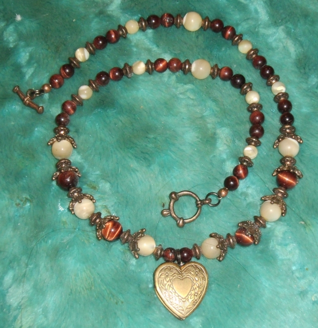 Red Tigerseye and Mother-of-Pearl Locket 1 by Windthin