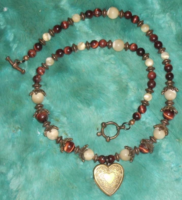 Red Tigerseye and Mother-of-Pearl Locket 2 by Windthin