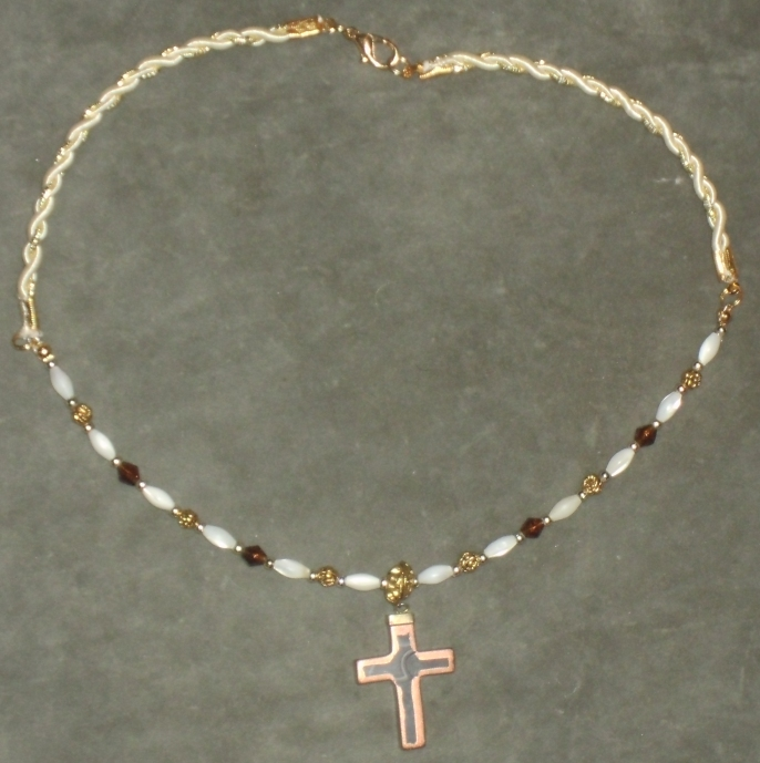 Copperleaf Cross Necklace 1 by Windthin