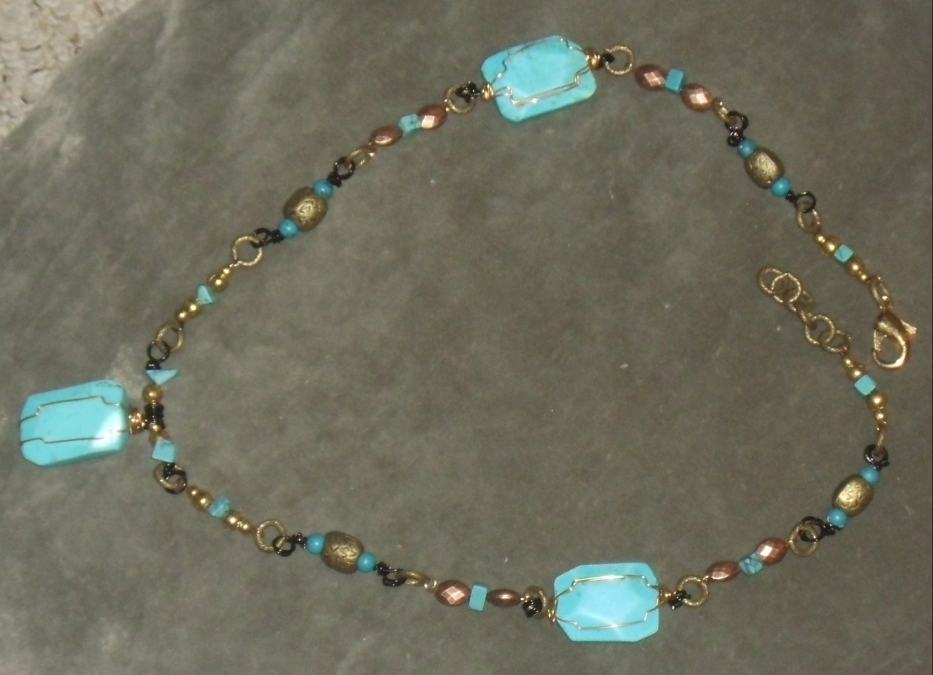 Magnesite and Turquoise Wire-Wrapped Necklace 5 by Windthin