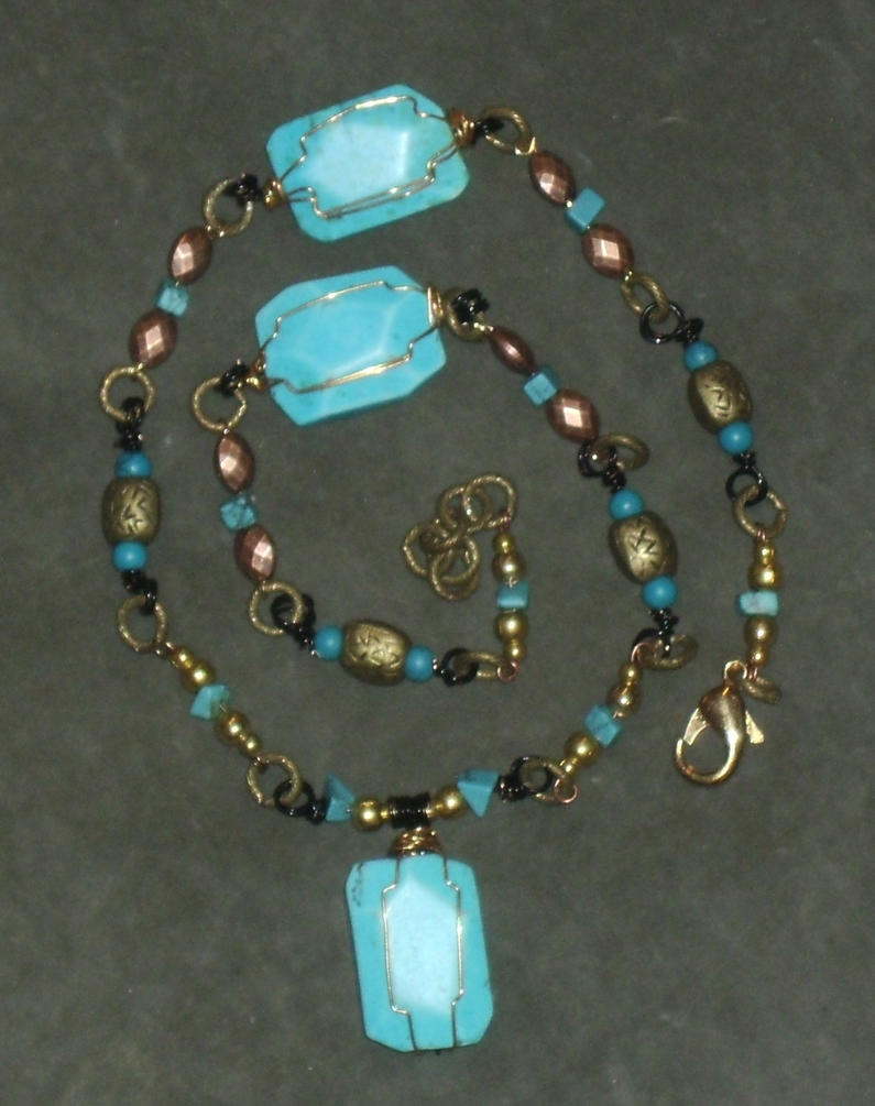 Magnesite and Turquoise Wire-Wrapped Necklace 3 by Windthin