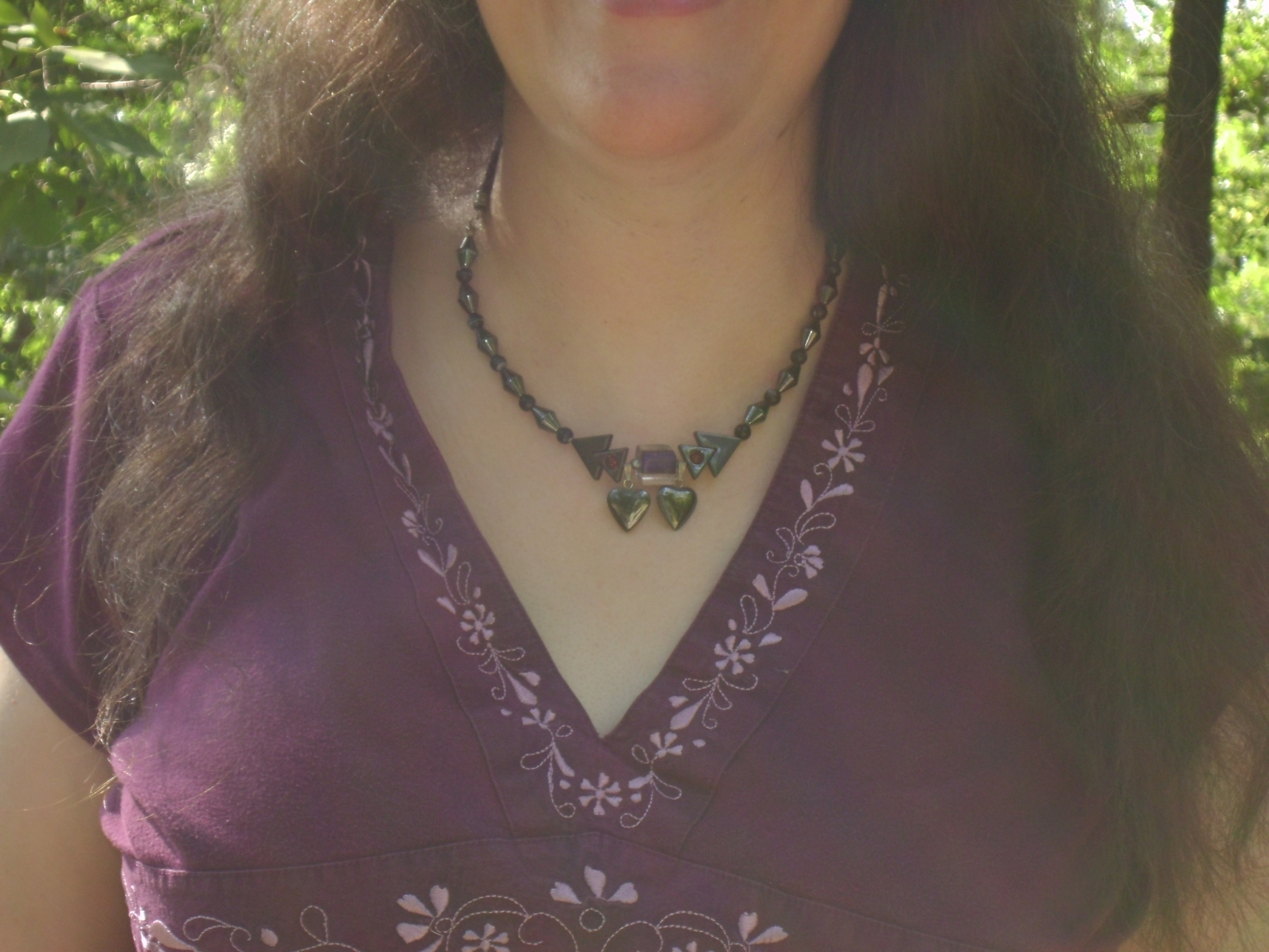 Rachel in the Hematite Heart Necklace by Windthin