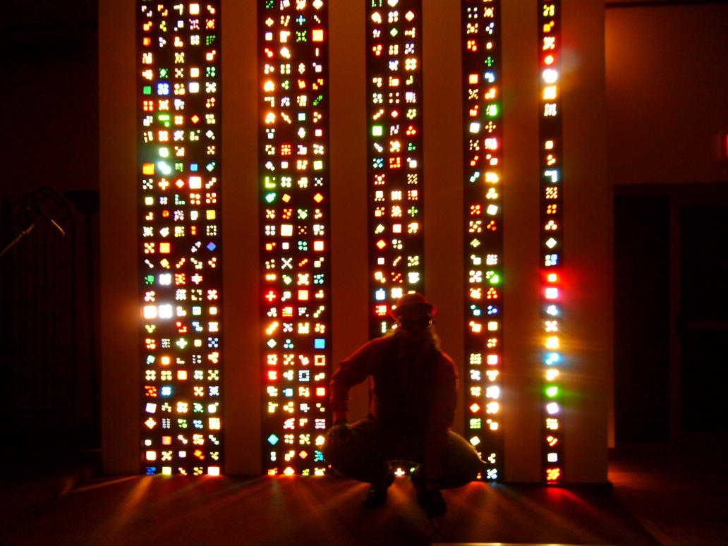 Lite-Brite Matrix Stained Glass Tile Columns 8 by Windthin