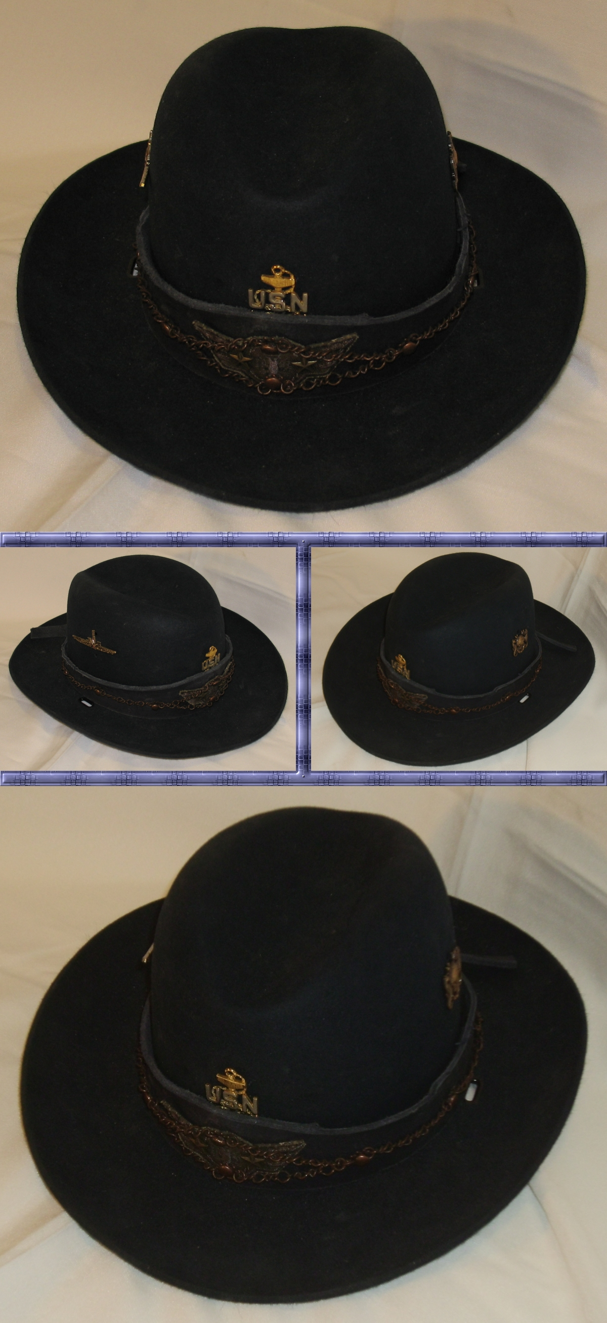 Navy Trooper Hat with Blue Leather and Copper Band by Windthin