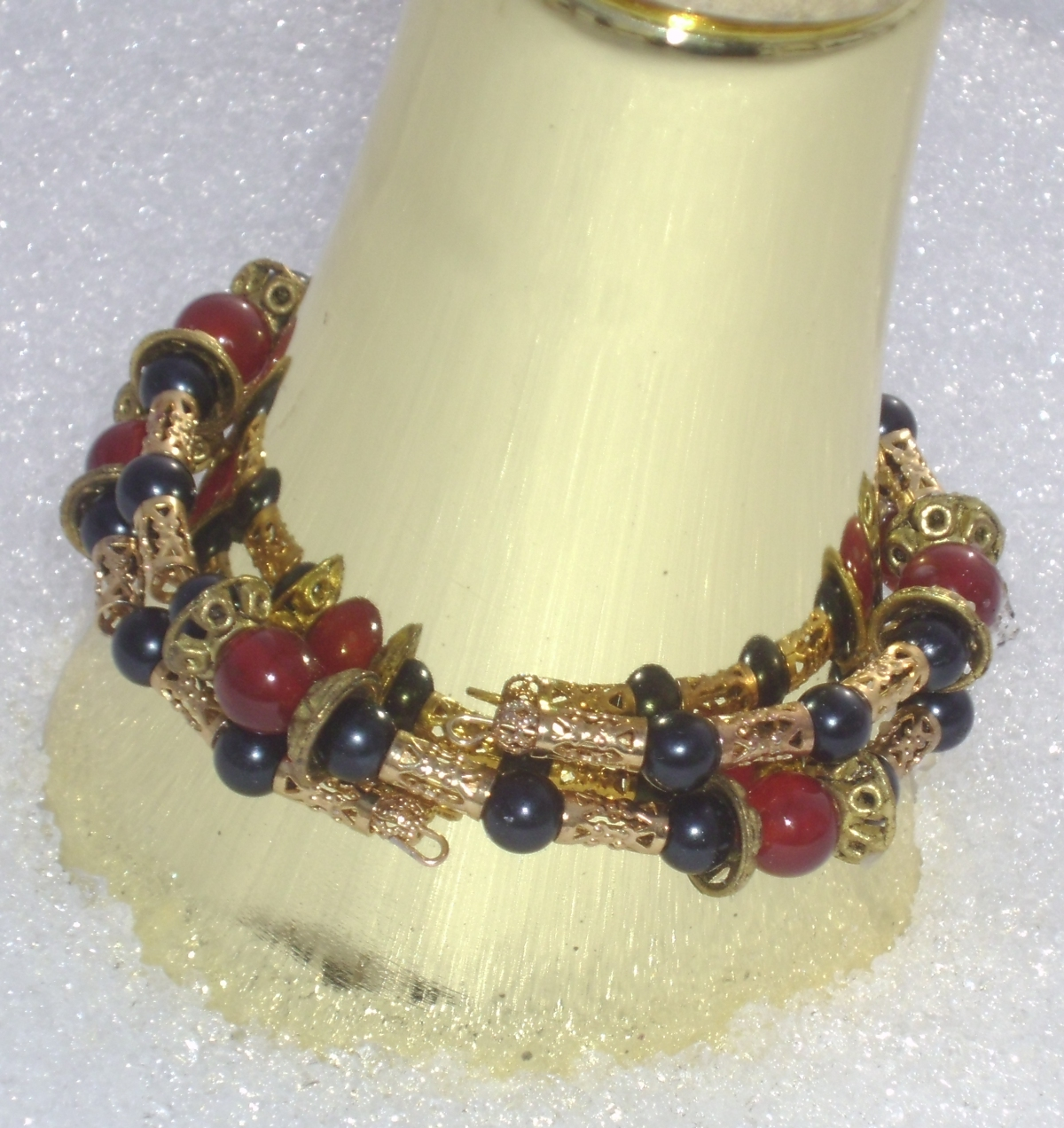 Carnelian, Black, and Gold Coil Bracelet Closeup 2 by Windthin