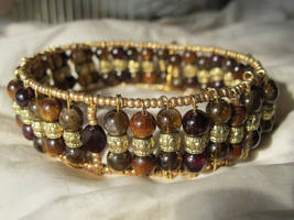 Crimson and Golden Hues Choker Closeup 1 by Windthin
