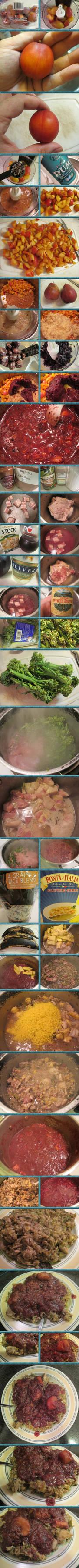 Cherry-Plum Criminara and Chicken-Broccolette Rice