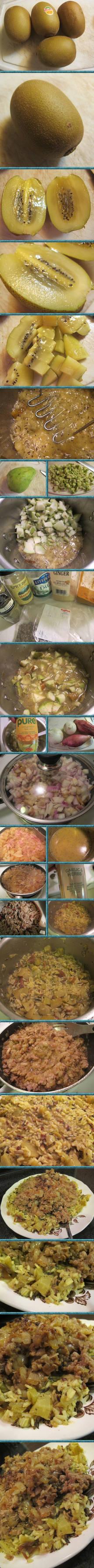 Sweet Onion Turkey with Kiwi-Chayote Rice