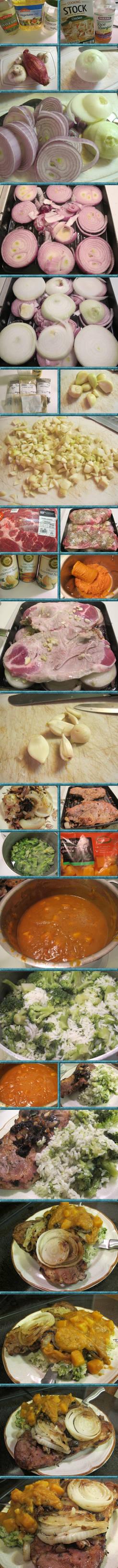 Pork Steaks n Onions w. Butternut Sauce n Rice