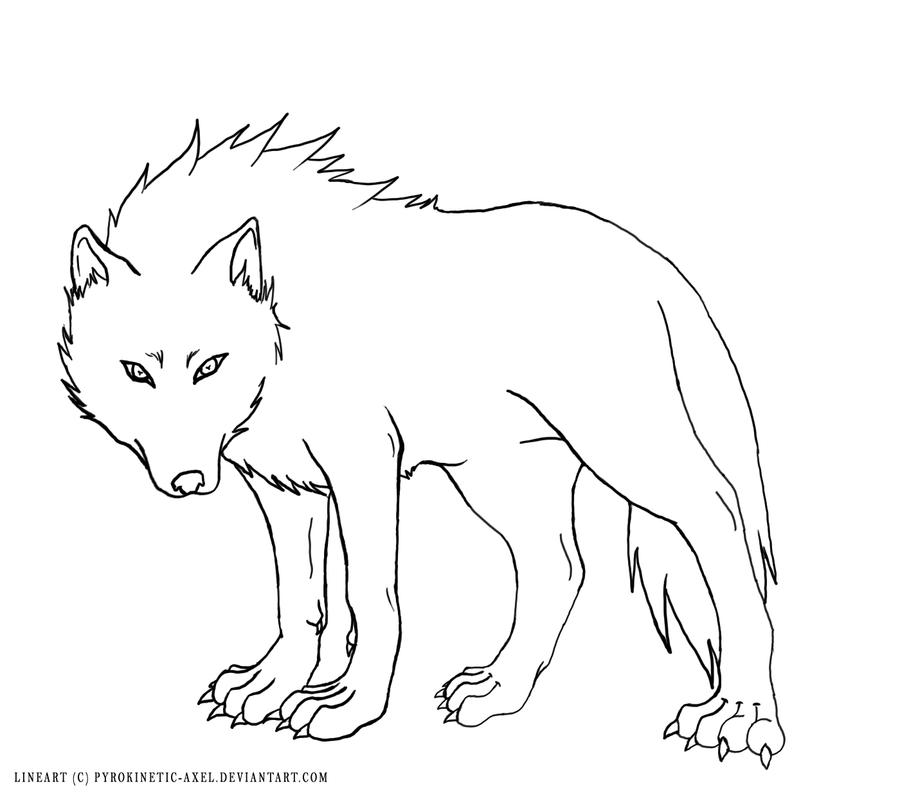 Simple Wolf Lineart : Wolf lineart by sucrotine on deviantart