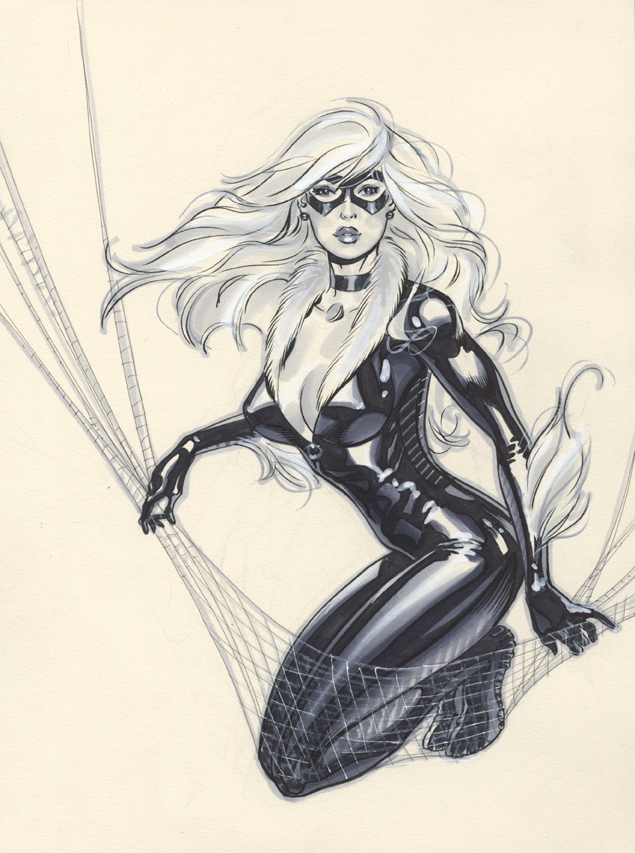 Black Cat con drawing by MichaelDooney