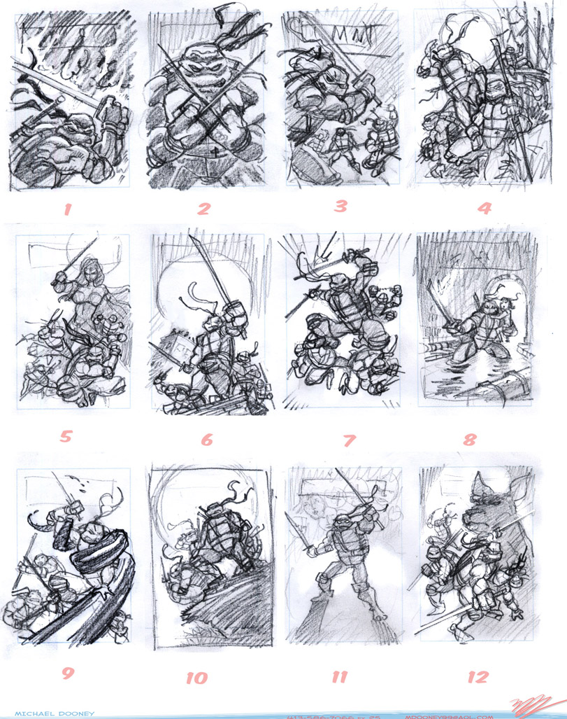 TMNT IDW cover #1 roughs by MichaelDooney