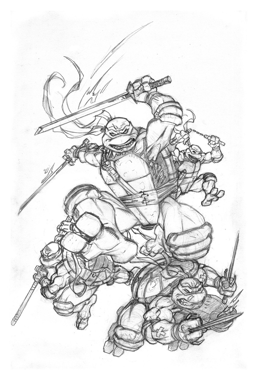 TMNT IDW cover #1 pencils by MichaelDooney