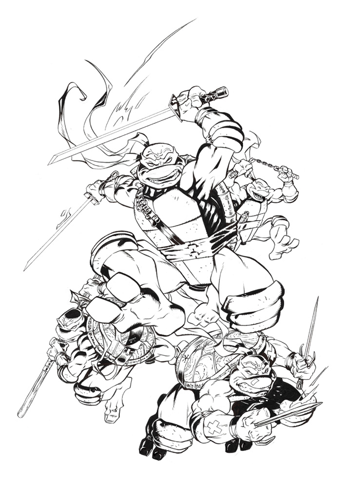 TMNT IDW #1 inks by MichaelDooney