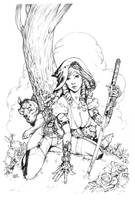 Red Riding Hood steampunk cover pencils by MichaelDooney